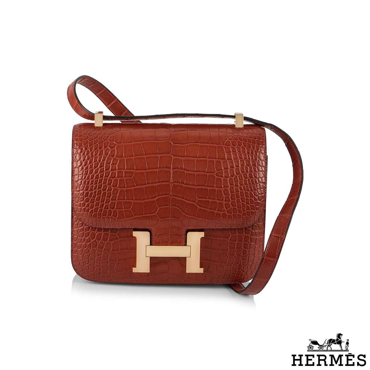 Hermès Constance 24 Rouge Alligator Mississippi Matte RGHW